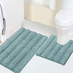 "Turquoize Shaggy Chenille Bath Mat Set Contour Shag Rugs Non Slip Bath Mats for Tub Extra Soft and Absorbent Bathroom Rugs 20"" X 32"" Bath Rug & U-Shaped 20"" x 20"" Toilet Floor Rug, Duckegg Blue"