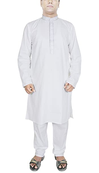 Amazon.com: SKAVIJ Cotton Kurta Pajama White Embroidered ...