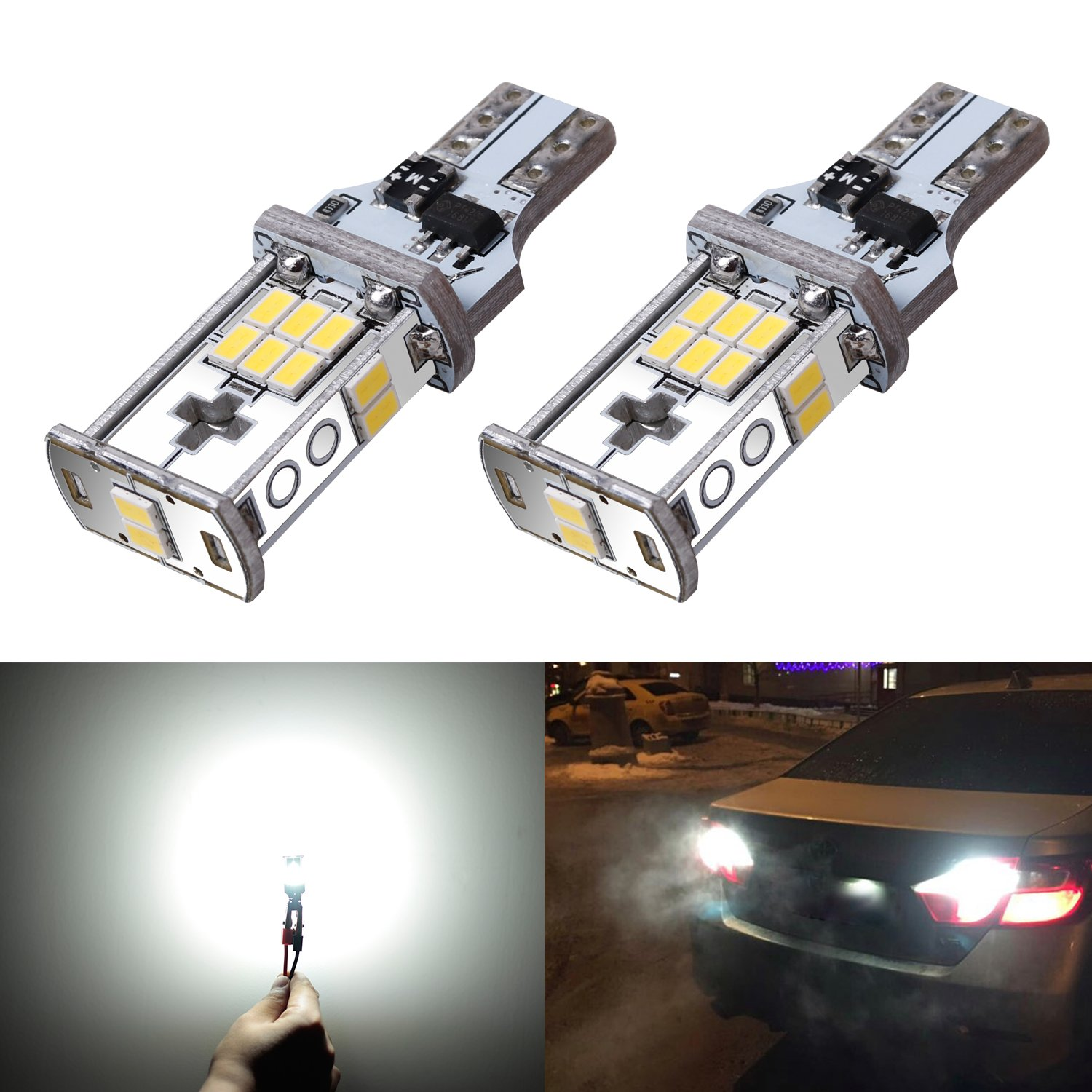 Extremely Bright Xenon White Z8LED 1000 Lumens Canbus Error Free 921 912 W16W LED Bulb With Latest 3020 Chipsets For Backup Reverse Lights Only For Backup Reverse Lights