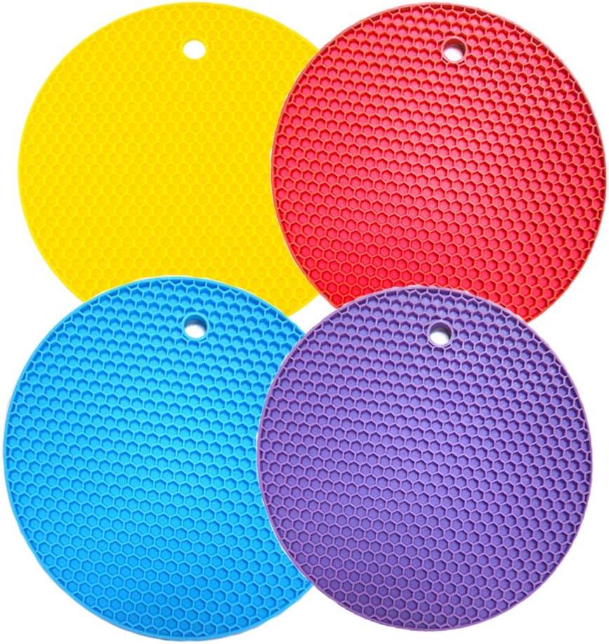 Cretty-Meet 4pcs Heat Resistant Flexible Non-Slip Silicone Trivet Mat Multifunction Cellular Hot Pads 7 Round