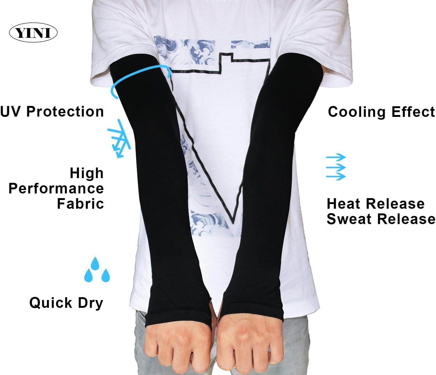 YINI Manches de bras de protection solaire anti-UV manches de bras multicolores de refroidissement pour la p/êche de football Activit/és de plein air de cyclisme pour unisexe avec trou de pouce