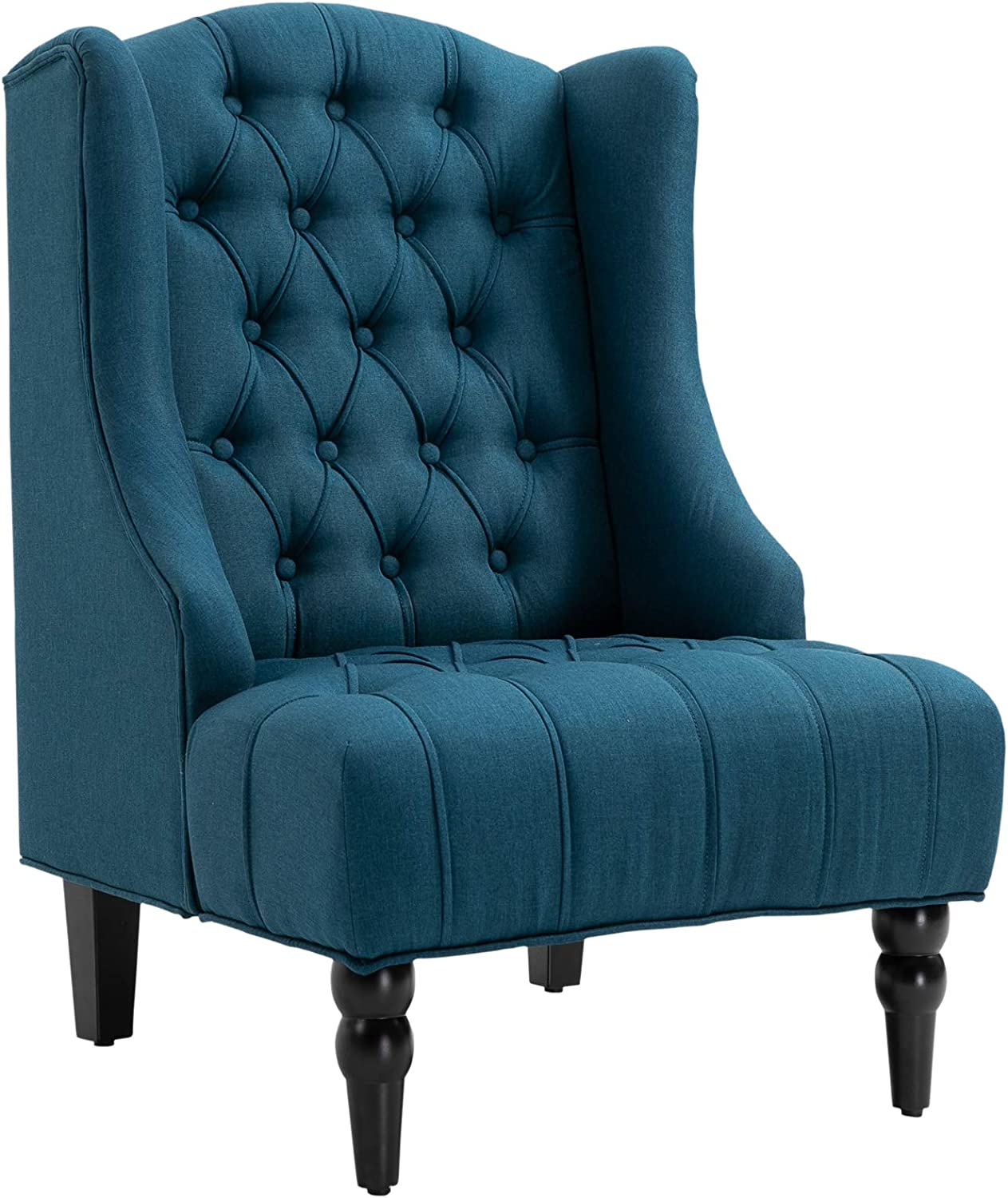 HOMCOM Linen Fabric Button Tufted Tall Wingback Accent Chair with Wooden Legs - Dark Blue
