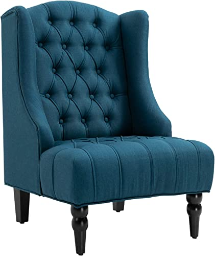 HOMCOM Linen Fabric Button Tufted Tall Wingback Accent Chair with Wooden Legs – Dark Blue
