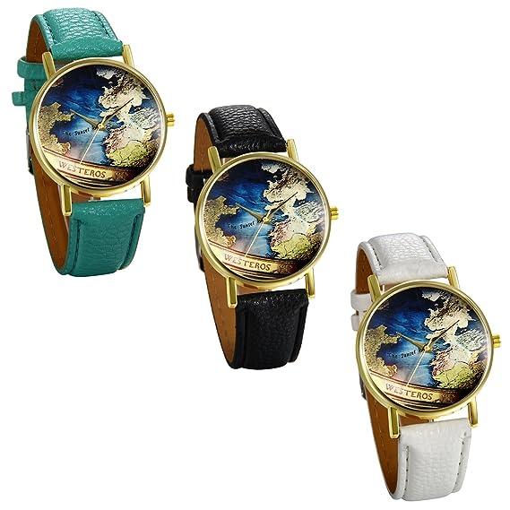 JewelryWe 3pcs Relojes de Pulsera de Mujer Mapamundi Antiguo, Correa de Cuero Retro Vintage, Azul Reloj Cuarzo Analogico Buen Regalo Para Mujeres: ...