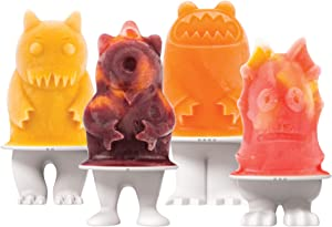 Tovolo Ice Pop Flexible Silicone Freezer Molds, Set of 4 Unique Monsters, Popsicle Makers With Reusable Sticks, Dishwasher-Safe & BPA-Free, White