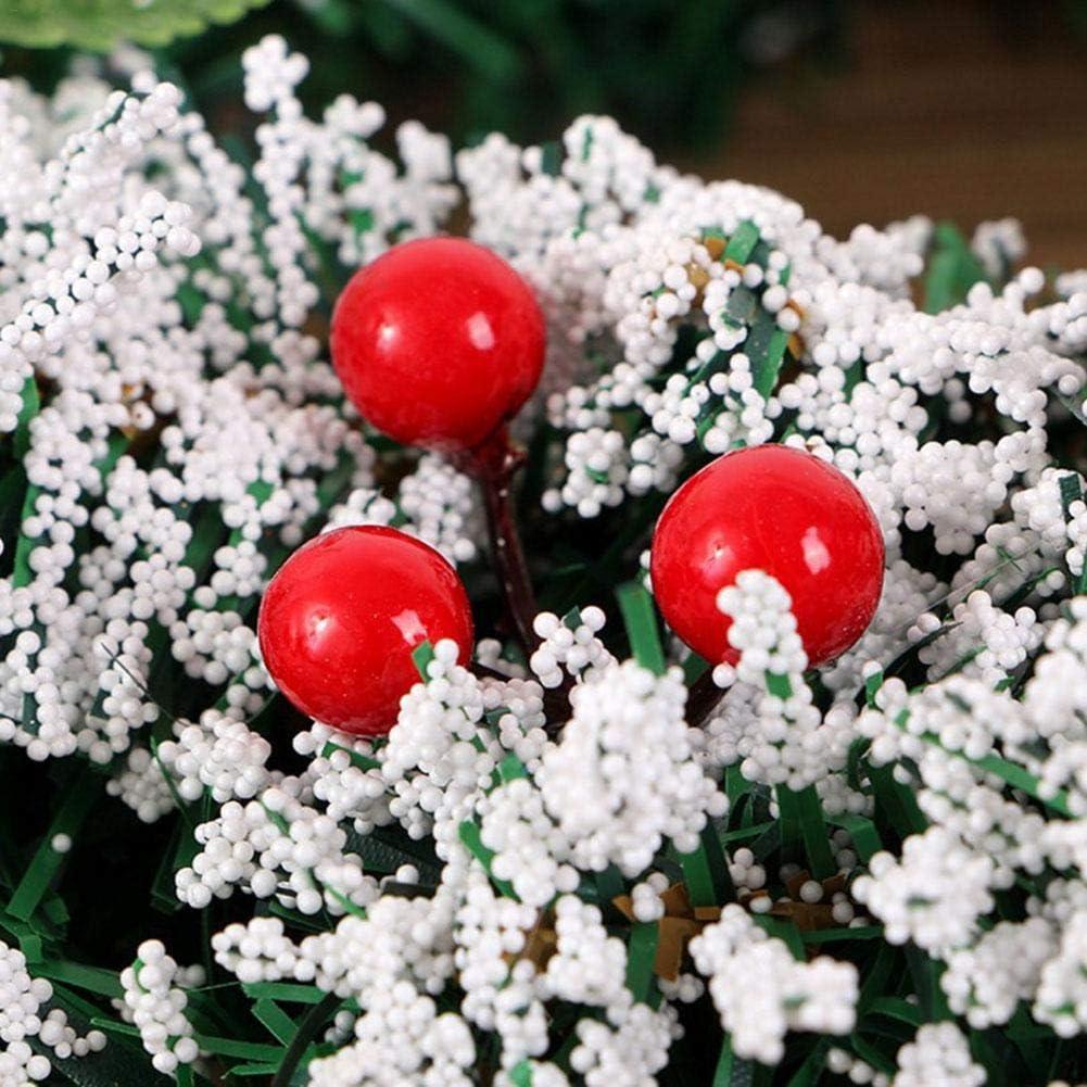 bowlder Weihnachtskranz Roten Beeren Auf Belaubten Zweigst/ängeln und Gl/änzenden Kugelverzierungen Geeignet f/ür Haust/üren W/ände Kamindekoration