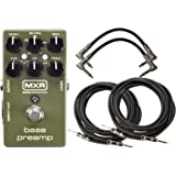 MXR M81 Bass Preamp Pedal Bundle with XLR Direct Out, 3 band EQ and Level Controls w/ 4 Cables
