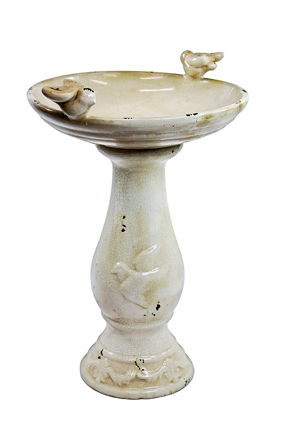 Alpine 24-Inch Antique Ceramic Birdbath with Birds-Light Brown TLR102LBR