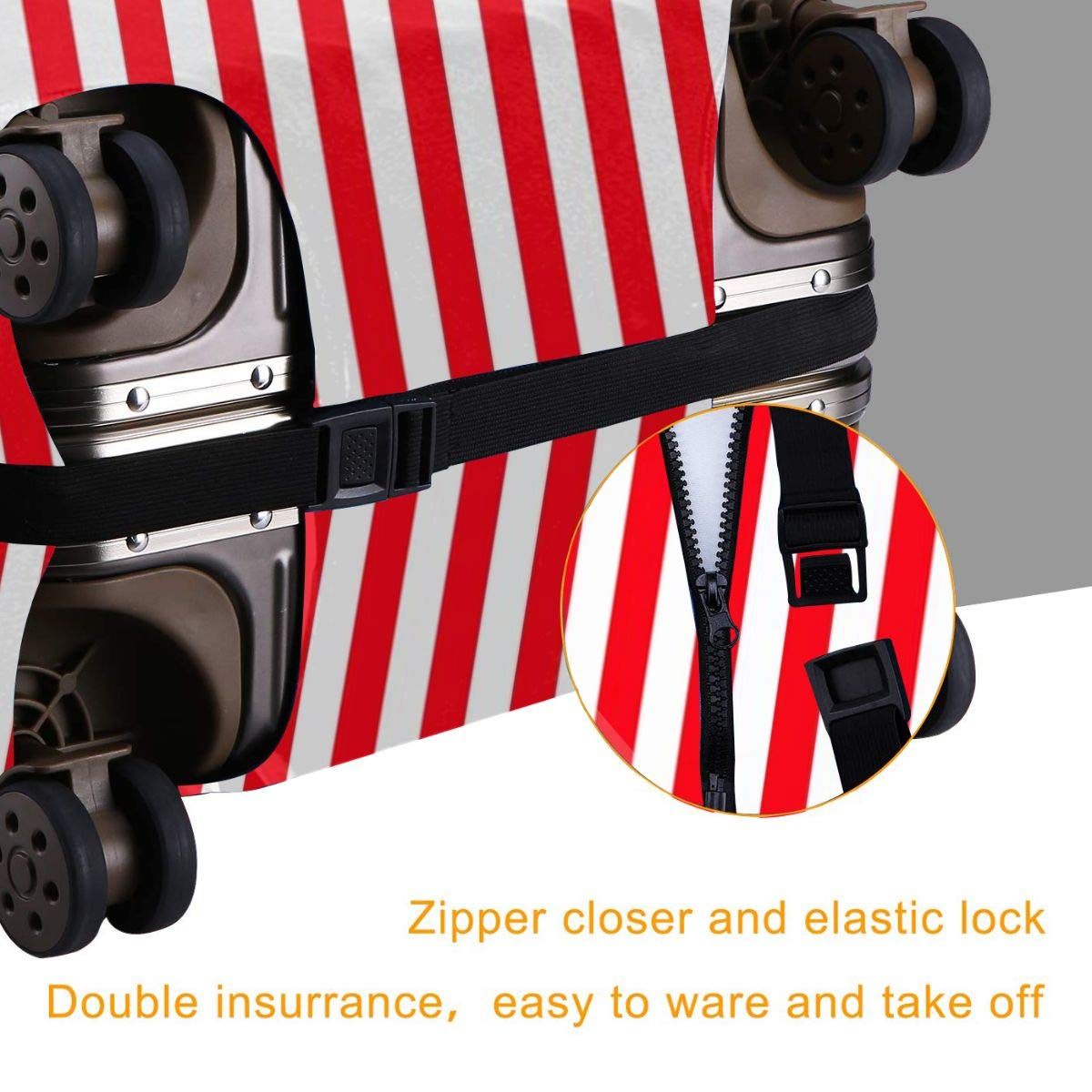 Red And White Stripes Elastic Travel Luggage Cover,Double Print Fashion Washable Suitcase Protective Cover Fits 18-32inch Luggage
