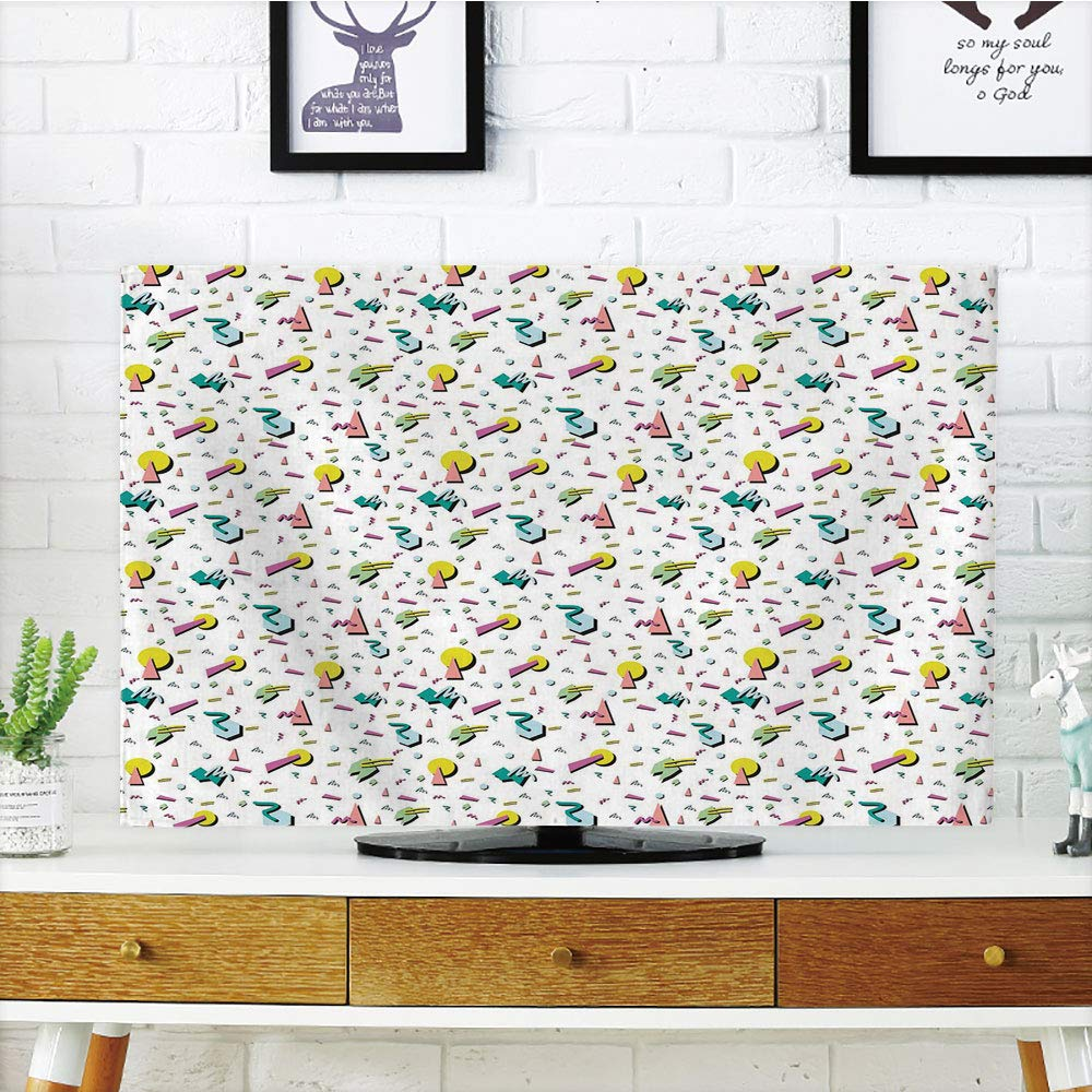 iPrint LCD TV dust Cover,Vintage,80s Fashion Style Retro Geometrical Figures Doodle Funky Lines Circles Triangles Decorative,Multicolor,3D Print Design Compatible 37'' TV