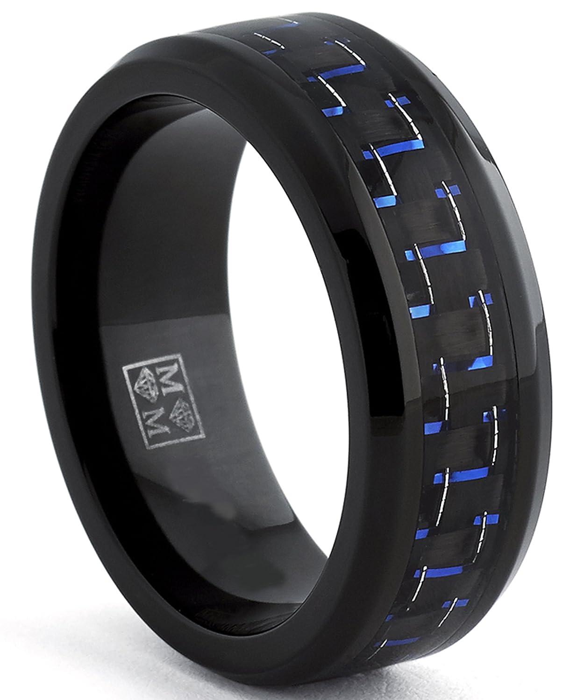 Ultimate Metals Co. Bague de Mariage en Titane Avec Incrusté Fibre de Carbone Noir et Bleu, Intérieur Confort 8mm