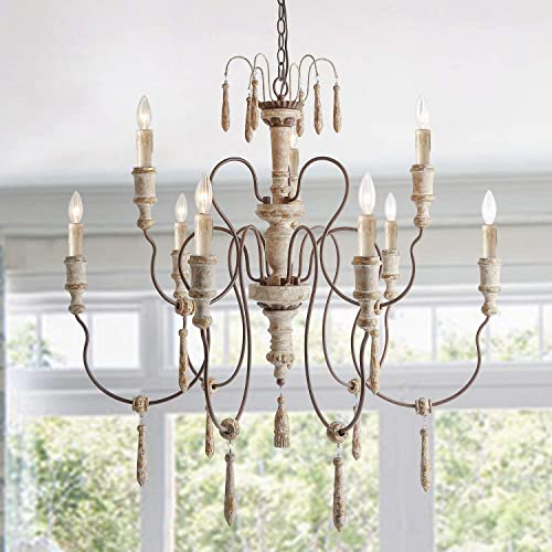 LALUZ Farmhouse Wood Chandelier