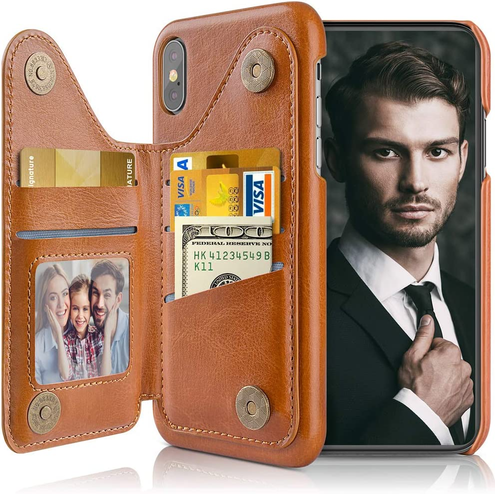 LOHASIC for iPhone Xs Wallet Case Men, for iPhone X Phone Cover with 5 Card Holder Women, Leather Stand Magnet Folio Portfolio Pocket, Compatible with iPhone Xs (2018)/X (2017) 5.8 Brown