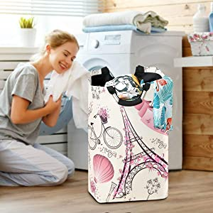 Paris Eiffel Tower Laundry Baskets Hamper France Flower Large Dirty Clothes Bag Cherry Washing Bin Horse Clothing Holder Floral Kids Toys Books Storage Organizer College Bathroom Bedroom Dorm