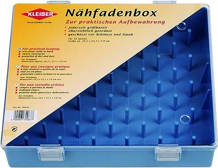 Kleiber - Caja para Guardar bobinas de Hilo, tamaño Grande, con 50 bobinas, 29,5 x 25,7 x 7,9 cm, Color Azul: Amazon.es: Hogar