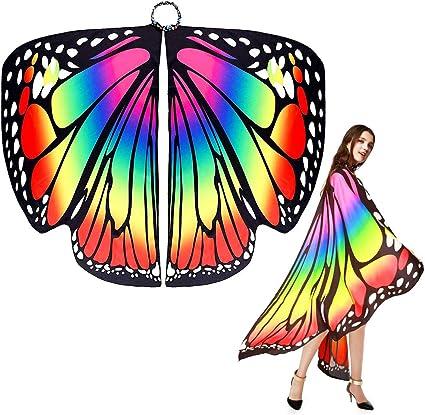 EMAGEREN Chal de Mariposa para Adulto, Disfraz de Mariposa, Alas ...