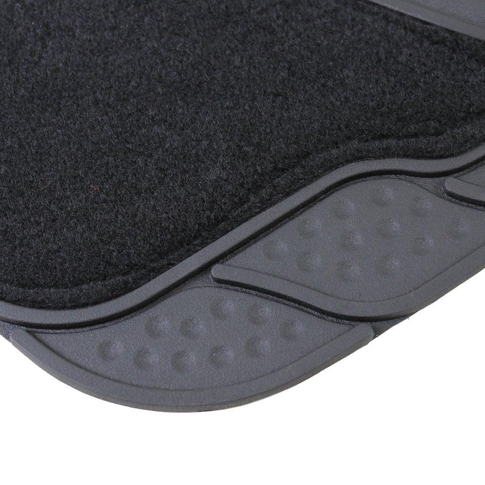 4 Pieces JVL 01-934 Universal Rubber Car Mat Carbon Luxury Set Black