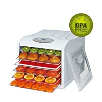 BioChef Arizona Sol Food Dehydrator 6 x BPA FREE Stainless Steel Drying Trays & Digital Timer - Includes: 1 x Non Stick & 1 x Fine Mesh Sheet & Drip Tray. Best Drier for Raw Food, Fruit, Jerky (White)