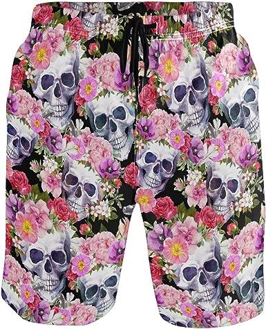 Customized Skull And Flowers Funny Logo Pattern Shorts For Mens Elastic Waist Pockets Lightweight Beach Shorts Boardshort