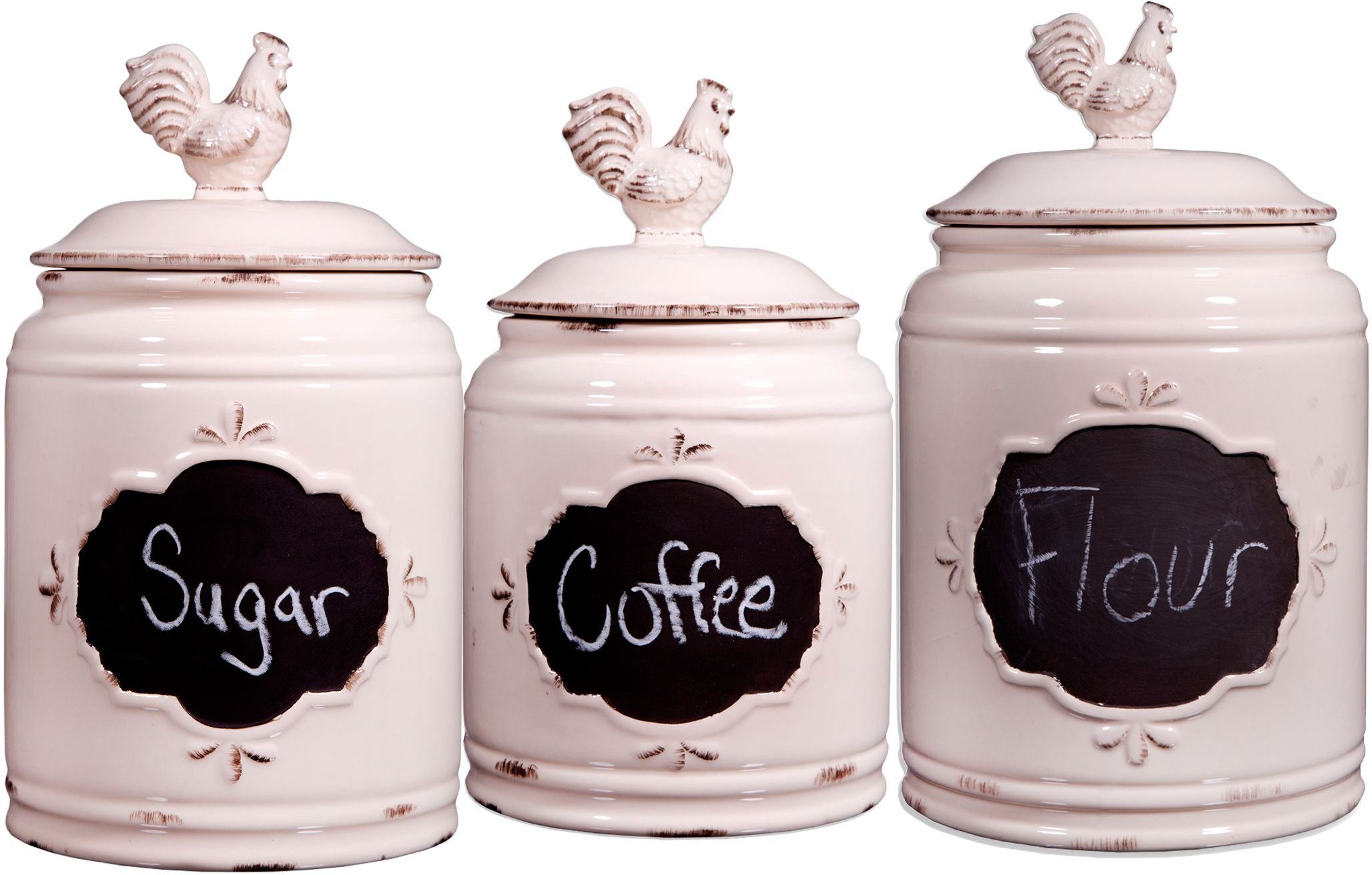 Set of 3 Ivory Ceramic Round Chalkboard Rooster Canister Jars with Tight Lids for Kitchen or Bathroom, Food Storage Containers,