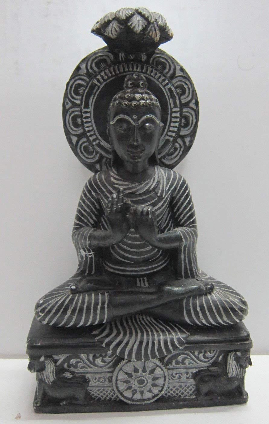Odishabazaar Lord Buddha Stone Statue in Dharmachakra Mudra 8 Inch