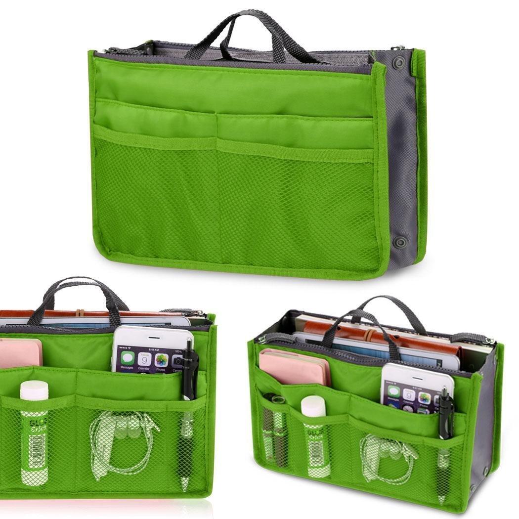 Kaimu Fashion Women Multifunction Travel Cosmetic Makeup Insert Pouch Toiletry Organizer Handbag Storage Purse Closet Systems