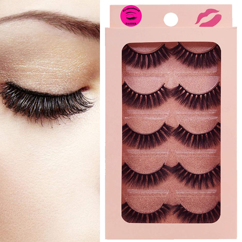 46cab2b40bb Amazon.com : DAODER Thick Short 3D Mink Lashes 5 Pairs False Eyelashes Pack  Volume Hand-made Reusable Soft Fake Eye Lashes : Beauty