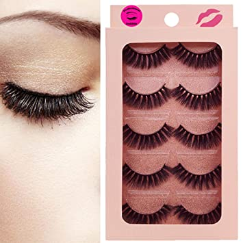 46cab2b40bb Amazon.com : DAODER Thick Short 3D Mink Lashes 5 Pairs False Eyelashes Pack  Volume Hand-made Reusable Soft Fake Eye Lashes : Beauty