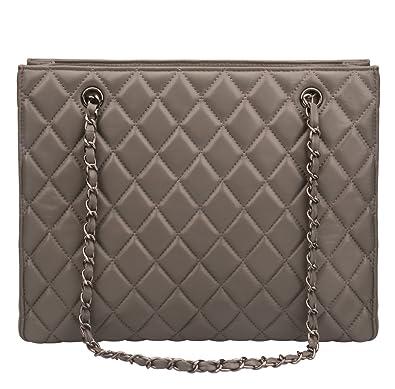 e29dfd504b Ainifeel Women s Genuine Leather Quilted Top Handle Handbag Purse Tote  (Grey)  Handbags  Amazon.com