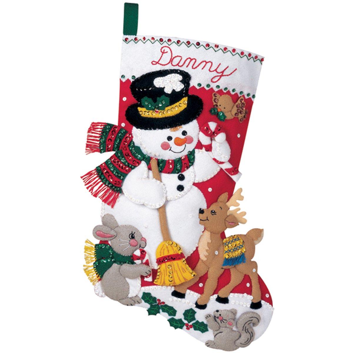 Bucilla Snowman & Friends Stocking Felt Applique Kit 18 Long 84951