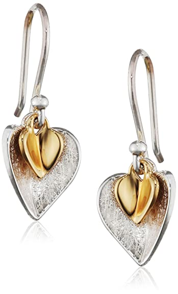 Elements Silver Gold Plated Double Heart Sterling Silver Earrings of Length 2.5 cm EZ6u4ORxrB