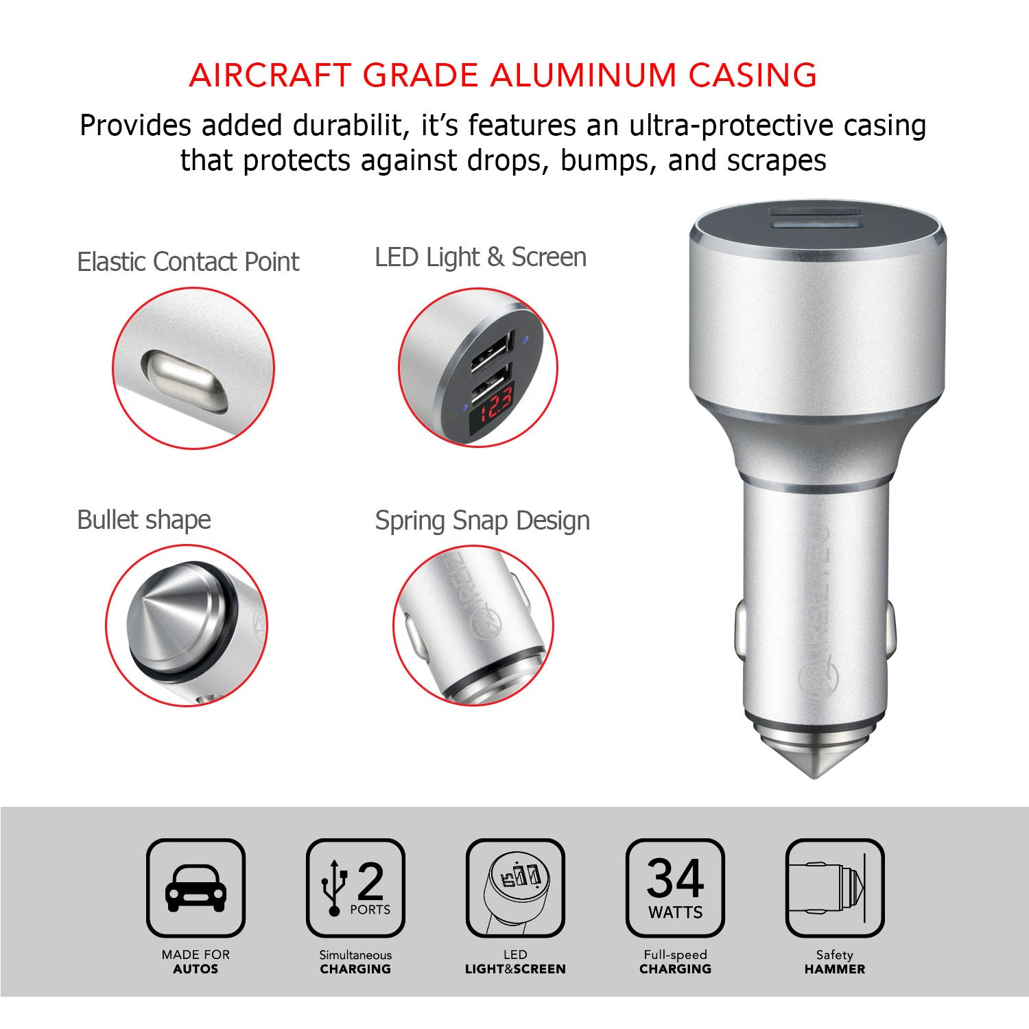 USB Car Charger, Cigarette Lighter Adapter with Safety Hammer, 34W QC 3.0 & 5V/2.1A Ports for fast charge iPhone X 8 7 6S 6 Plus, iPad Pro Air, Galaxy S9 S8 S7 S6 Edge Plus Note 8, LG G6 V10, HTC
