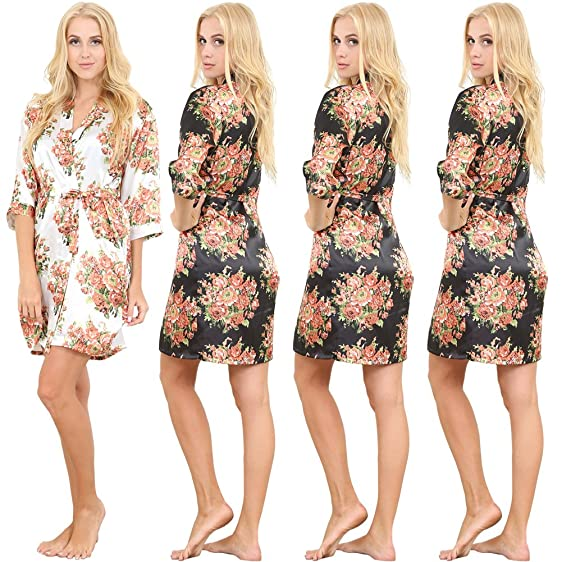 Set of 4 Women\'s Satin Short Floral Wedding Robes - Bridesmaids ...