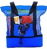 JU&JI's Beach Tote Bags – 2-in-1 Design – Mesh Bag & Built-in Picnic Cooler Compartment – Big or Extra Large Cooler Beach Bags – Padded Handle, Waterproof Zipper & Heavy-Duty Build