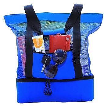 Amazon.com : JU&JI's Beach Tote Bags - 2-in-1 Design - Mesh Bag ...