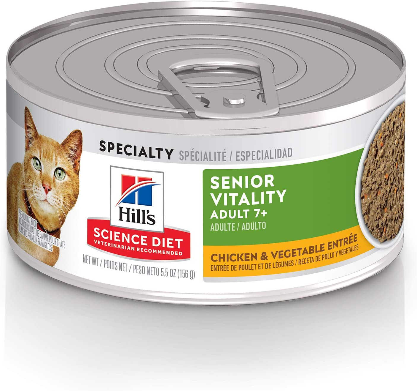 Hill's Science Diet Adult 7+ Senior Vitality Wet Cat Food, Chicken & Vegetable Entree, 5.5 oz Cans, Case of 24