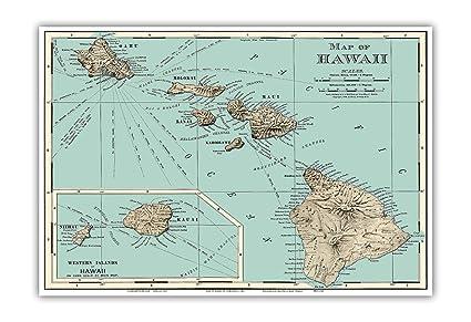 Amazon.com: Pacifica Island Art Map of Hawaii - Rand McNally Atlas ...