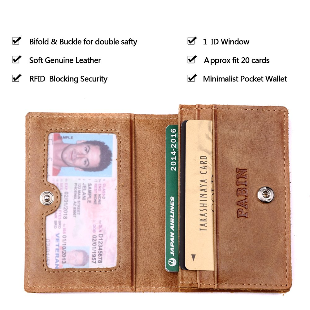 RFID Blocking Credit Card Holder Leather ID Case for Men Pabin (Vintage Brown) by Pabin (Image #4)