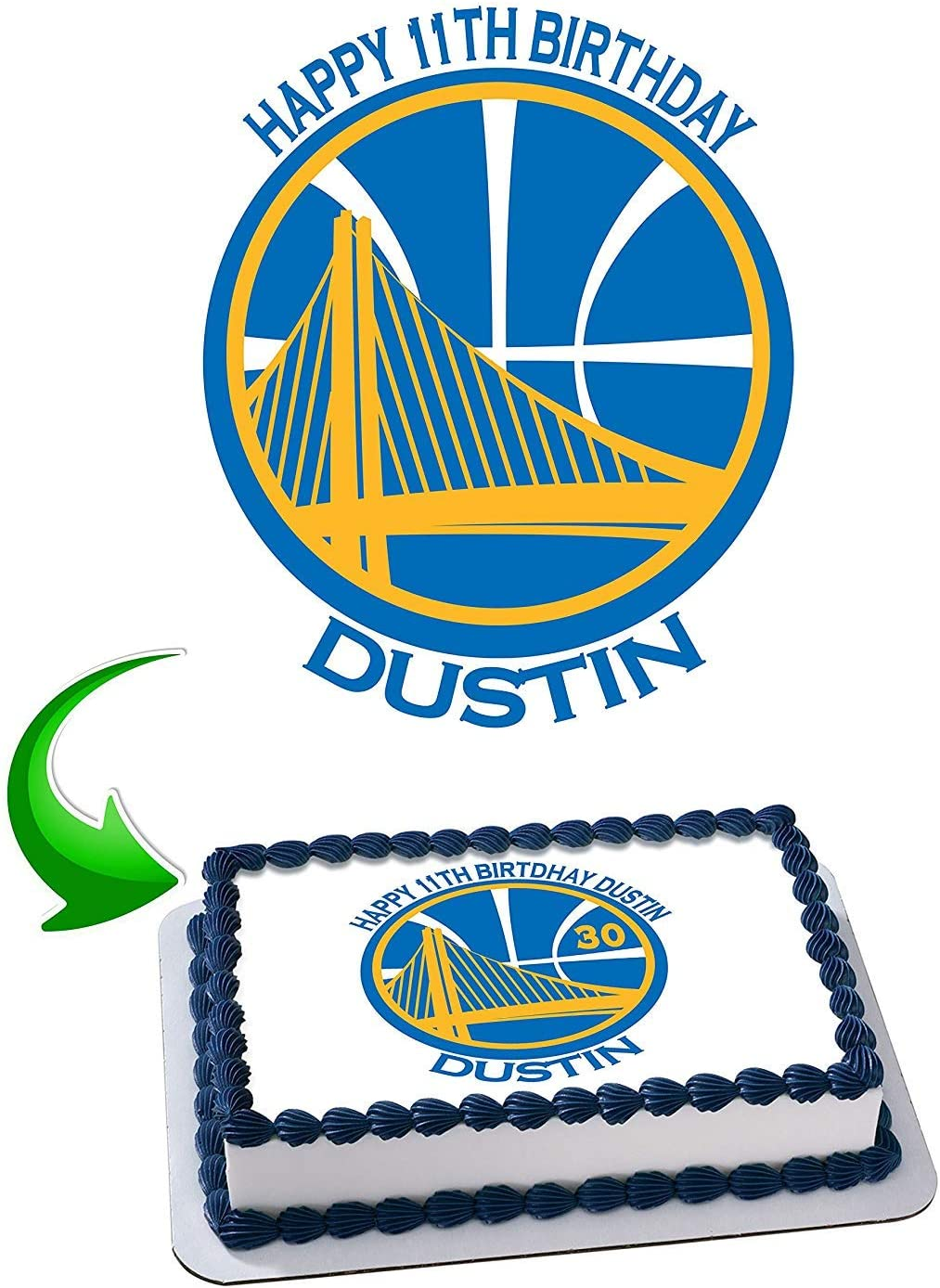 GOLDEN STATE WARRIORS BASKETBALL A4 ICING CAKE TOPPER PERSONALISED BIRTHDAY