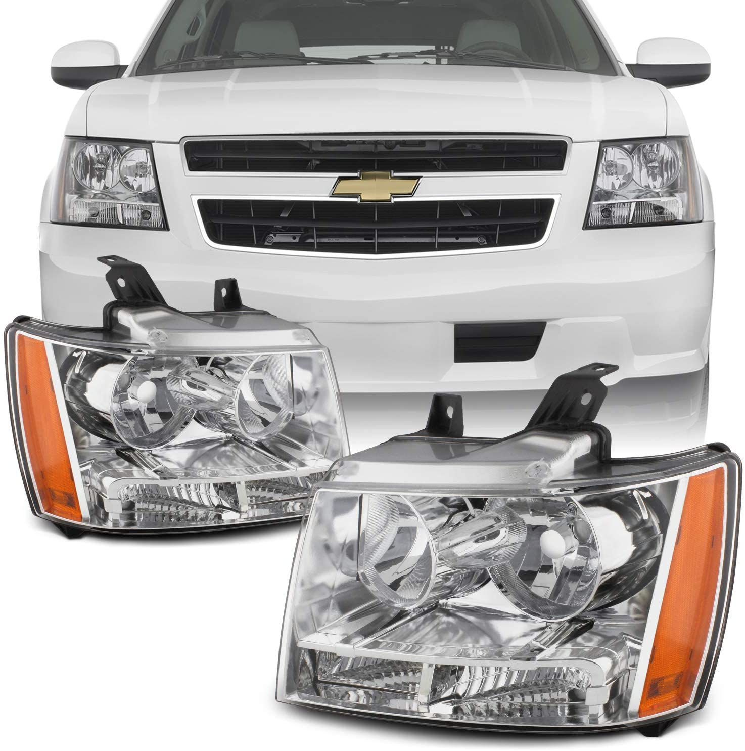 2007-2013 CHEVY TAHOE//AVALANCHE//SUBURBAN HEADLIGHT LAMP SET LEFT AND RIGHT PAIR
