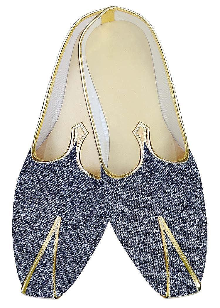 INMONARCH Traditional/Shoes for Men Denim Blue Jute Indian Wedding Footwear MJ015381