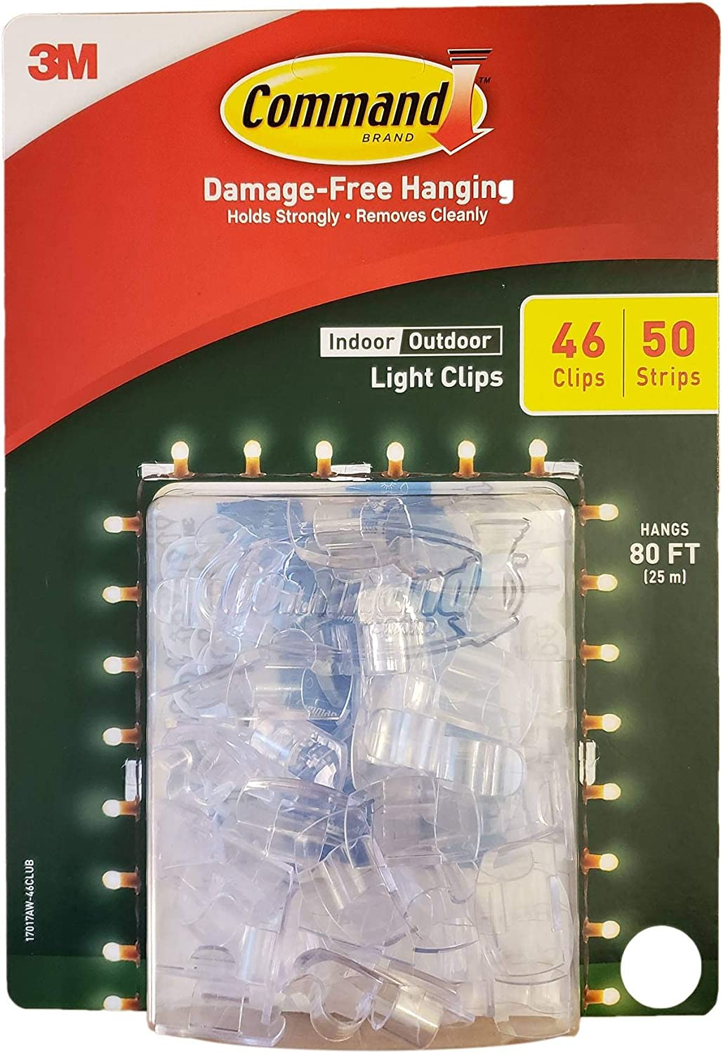 Command Indoor Outdoor Light Clips with 46 Clips 50 Strips Hangs 80 ft