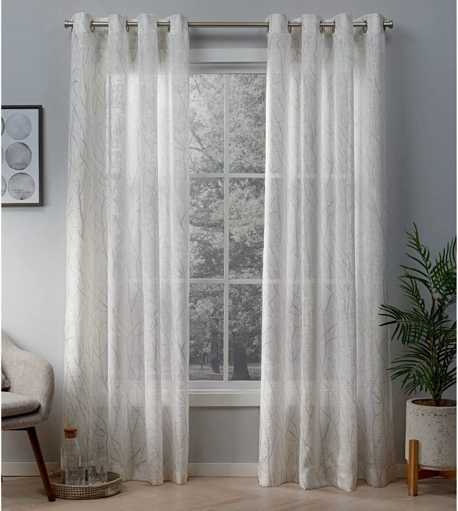 Exclusive Home Curtains Woodland Printed Metallic Branch Sheer Textured Linen Window Curtain Panel Pair with Grommet Top, 54x96, Winter Gold, 2 Piece