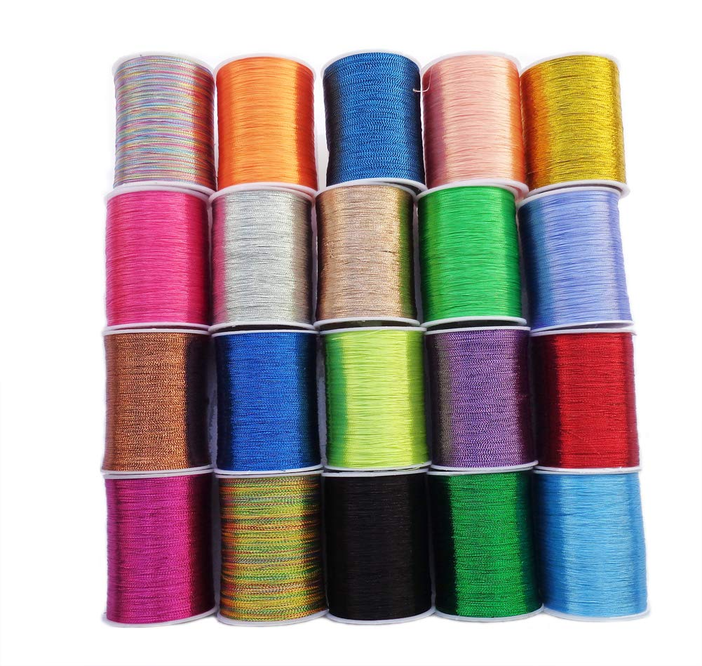 E-isata Metallic Embroidery Threads 20 Assorted Colors Glittery Thread Spool Polyester Sewing Thread for Embroidery Quilting Ideal for Machine Sewing or Hand Needle Work