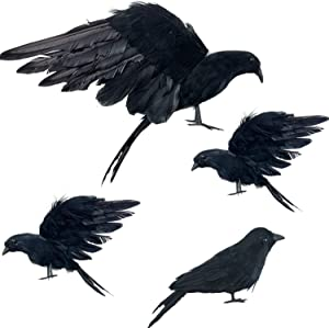 """Iceyyyy 4-Pack Realistic Black Feathered Crow Bird - 13"""" Halloween Artificial Handmade Feathered Crows and 6"""" Halloween Lifelike Raven for Halloween Costume Decor Party Outdoor Indoor Decoration"""