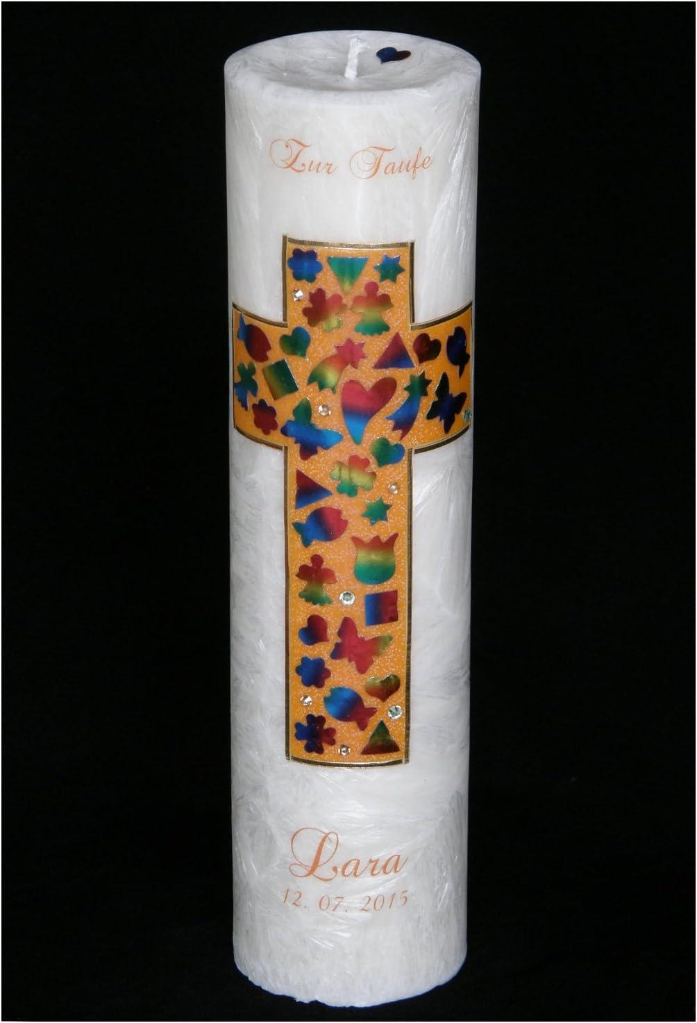 Arte de mano en forma de decorado vela de la Cruz y arco iris motivos mosaico - 100% esteárico - 30 cm - Colour NARANJA: Amazon.es: Bebé