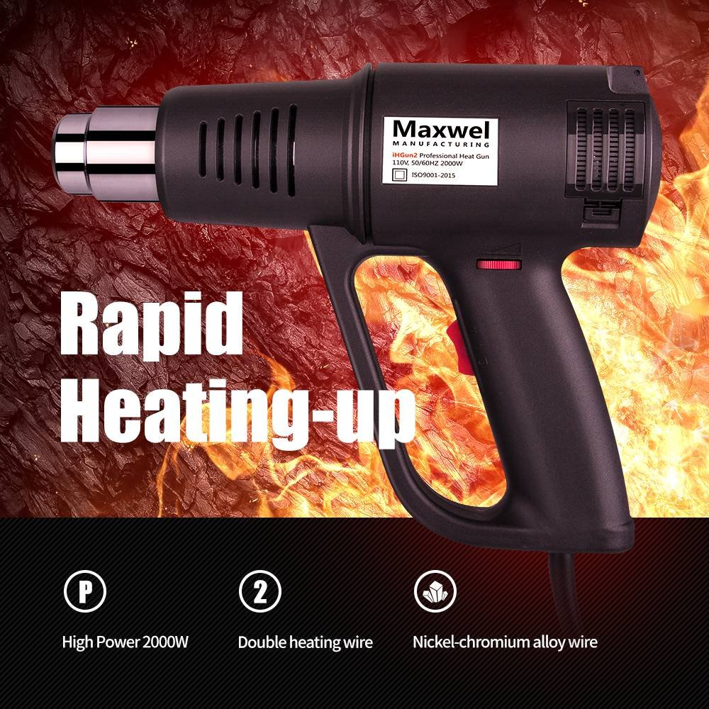 Heat Gun Hot Air Vinyl Shrink - Maxwel Electric Industrial Use Temp Adjustable Heavy Duty Hot Air Guns Heat Gun Kit for Heat Shrink Tube, Wire Connectors, Paint Stripping 120V 2000W by Maxwel Manufacturing (Image #2)