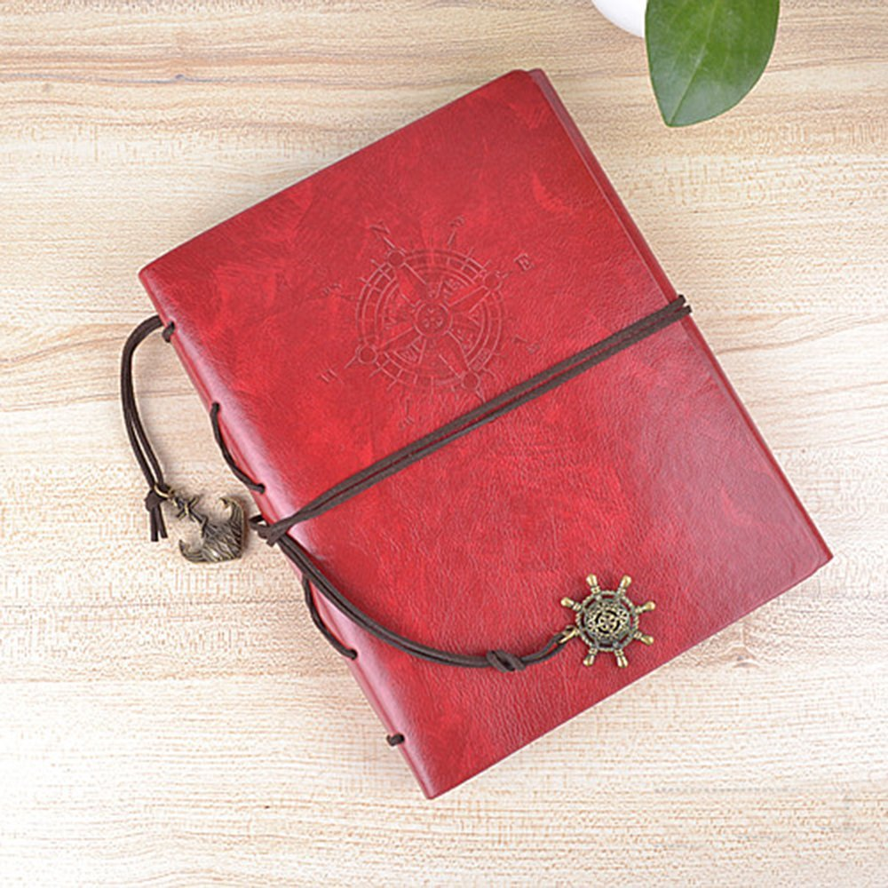 Longpro Creative DIY Loose-leaf Photo Album Leatherette Binded Album Series Anniversary Scrapbook (Voyage, Red) by Longpro