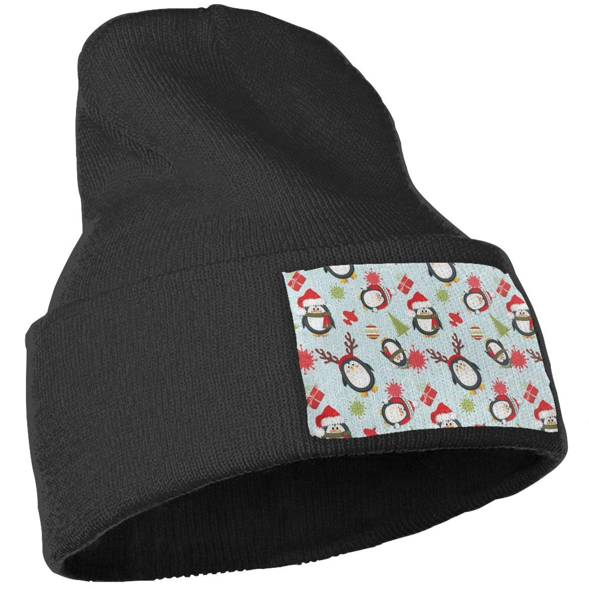 JimHappy Holiday Penguins Christmas Hat for Men and Women Winter Warm Hats Knit Slouchy Thick Skull Cap Black