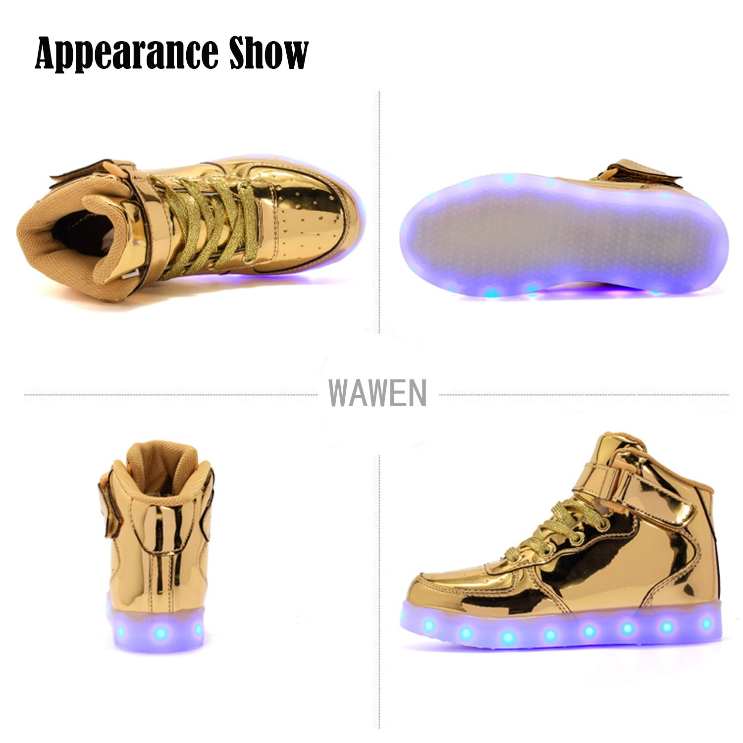 WAWEN Kids Boys Girls LED Sneakers High Top Light Up Flashing Shoes
